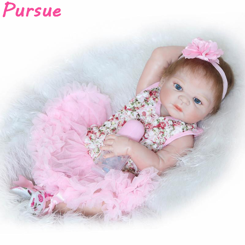 Pursue Silicone Reborn Baby Alive Girl Dolls with Silicon Full Body Soft bebe reborn menina de silicone menina silicone realista new style girl dolls full silicone reborn dolls with beautiful dress adora dolls bebe reborn de silicone menica