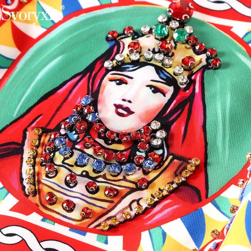 Multiple Svoryxiu Dividido De Reina Moda Impresión Partido 4 Vestidos Verano Manga Pista Diamante Vintage Las 3 Primavera Vestdios Lujo Mujeres Vestido 1wrqR1p