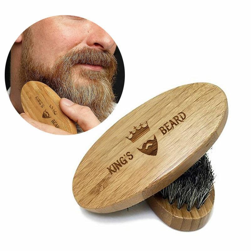 1PCS Natural Bamboo Wood Boar Bristle Beard Brush Mustache Men's Beard Brush Facial Hair Beard Care Shaving Brush Tool