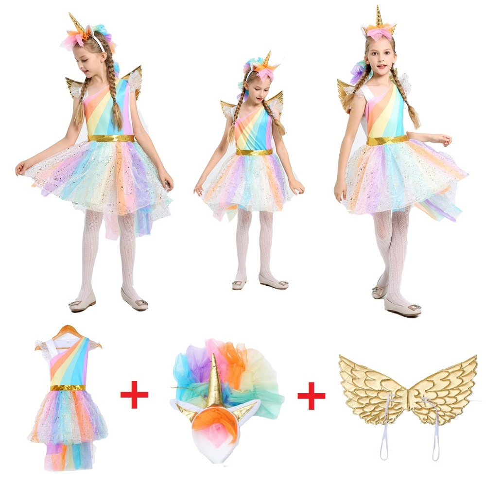 Girl Unicorn Fancy Dress for kids  Rainbow Sequined Tutu Wedding Party Dress with Hair Hoop Wings Set for Cosplay Costumes 5-12Y
