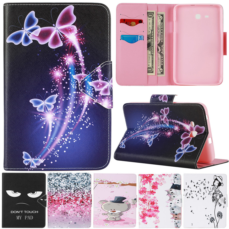 Sonho Borboleta Flor bonito Dos Desenhos Animados Urso Gato Fundas Caso Suporte de Couro Para Samsung Galaxy Tab 3 Lite 7.0