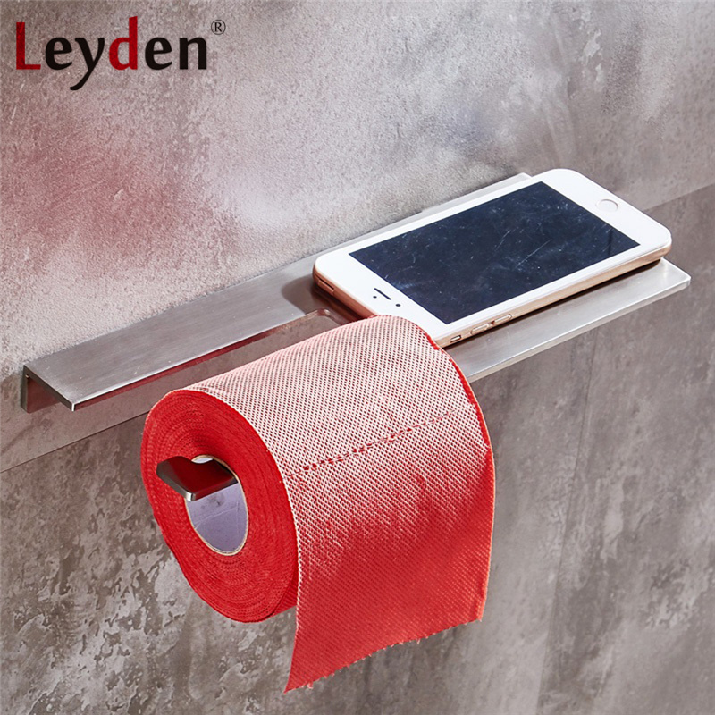 Leyden Stainless Steel Brushed Nickel Toilet Paper Holder with Shelf Wall Mounted Toilet Paper Roll Tissue Mobile Phone Holder leyden copper 4 color toilet roll holder toilet paper holder with shelf wall mounted toilet paper rack bathroom accessories
