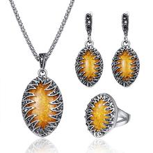 Популярный античный яркий ювелирный набор, роскошный кристалл, ожерелье, набор, винтажные Женские аксессуары, Большой овальной огранки, ювелирный набор, мода 20