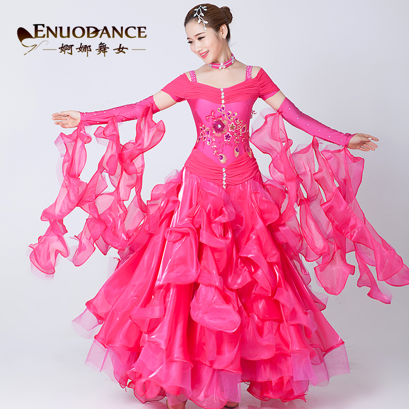 fashion rhinestone modern dance dress embroidered short sleeve dresses