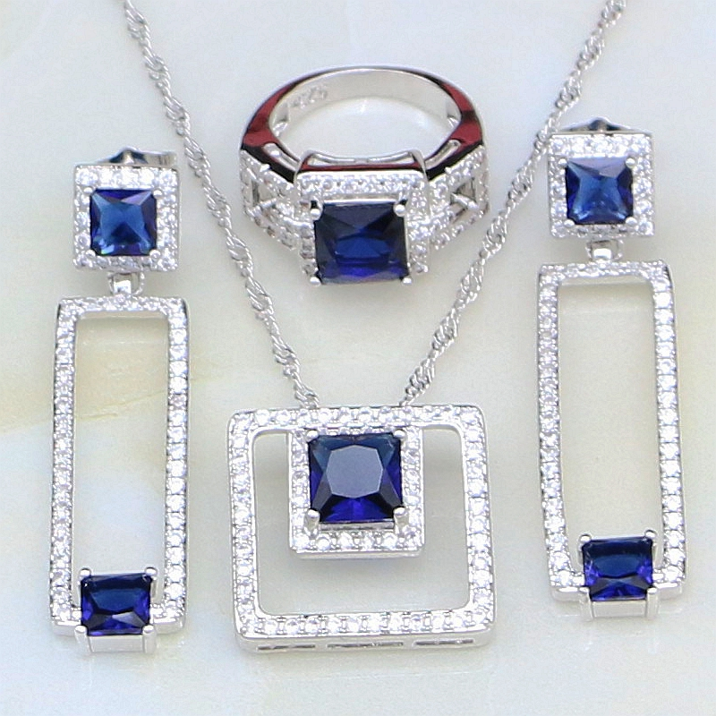 Blue Cubic Zirconia White CZ Jewelry 925 Sterling Silver Bridal Jewelry Sets Anniversary Earring/Pendant/Necklace/Ring