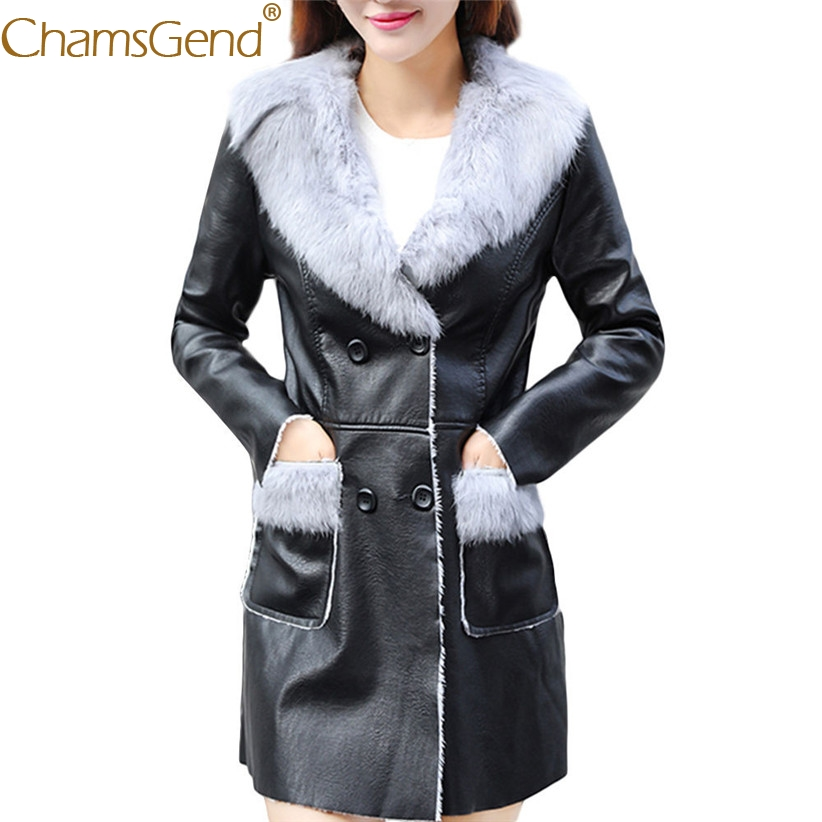 Chamsgend Drop Shipping Hot Women Fashion Faux Fur Collar Long PU   Leather   Coat Jacet With Pocket 71013
