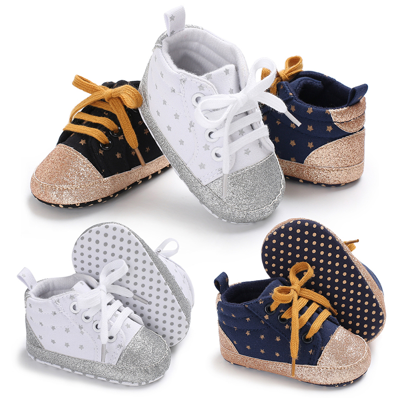 1 Pair Star First Walker Baby Girls Shoes Canvas Dots Bebe Toddler Booties Soft Sole Newwborn Boys Sport Sneakers Fashion