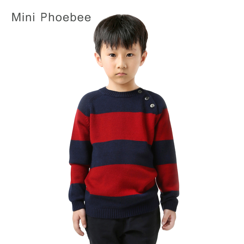 ФОТО boy girls pullovers wool 3-10 years brand pullover boy knitted stripe cool sweaters for boys children boy blue red kids sweater