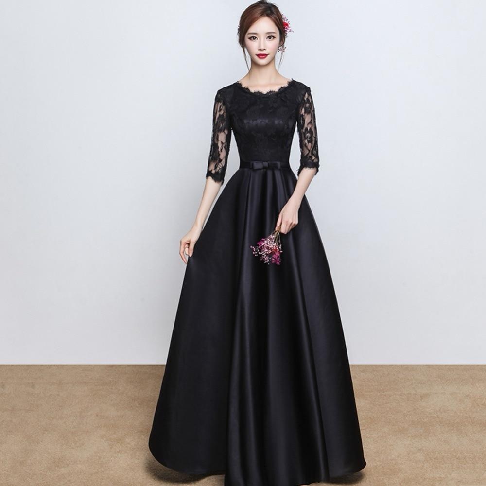 prom dresses long black lace satin vestidos de festa longo ...