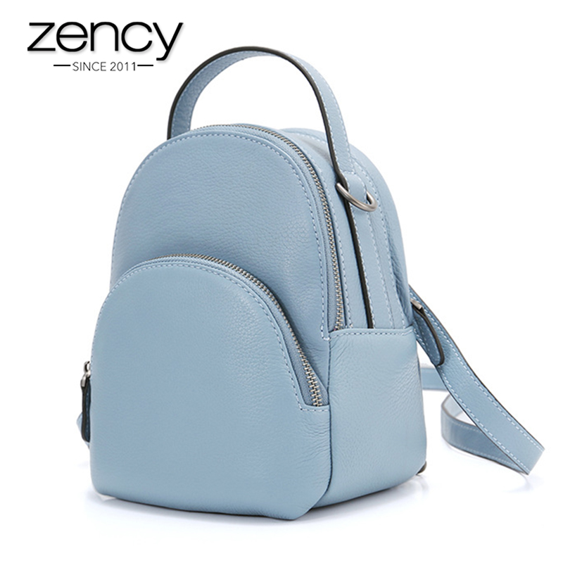 Zency Fashion Women Backpack 100% Genuine Leather Daily Casual Knapsack Preppy Style Schoolbag Small Travel Bags Black Grey