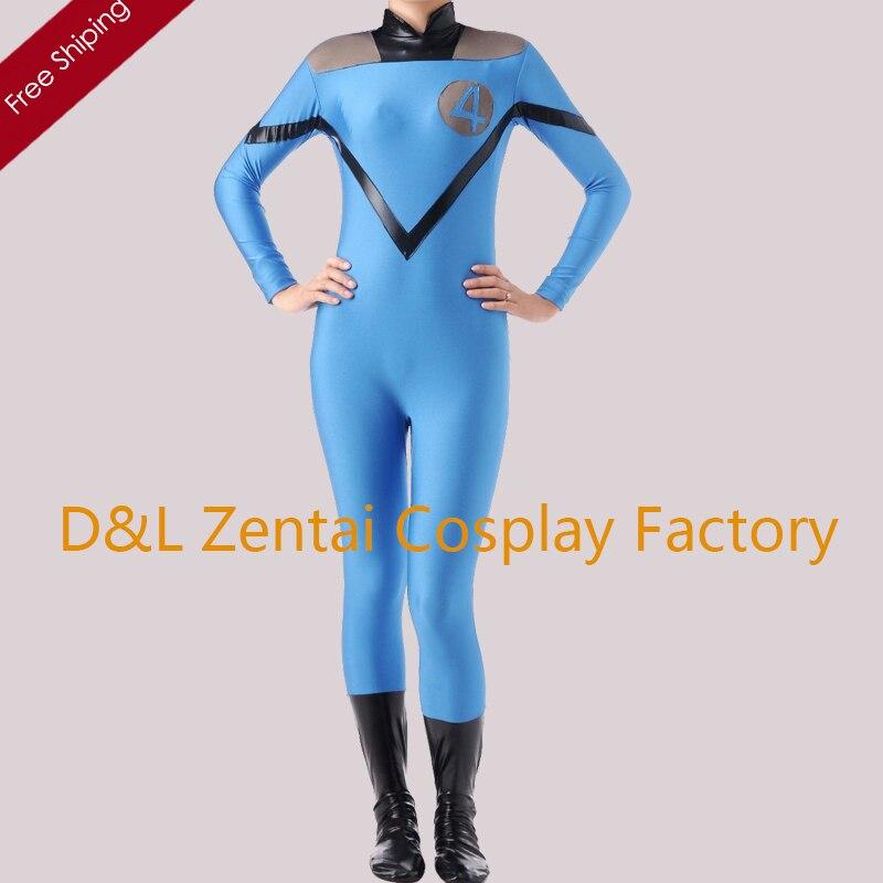Free Shipping DHL Fantastic 4 Superhero Costume High Elasticity Blue Lycra Spandex Halloween Costume SP1613