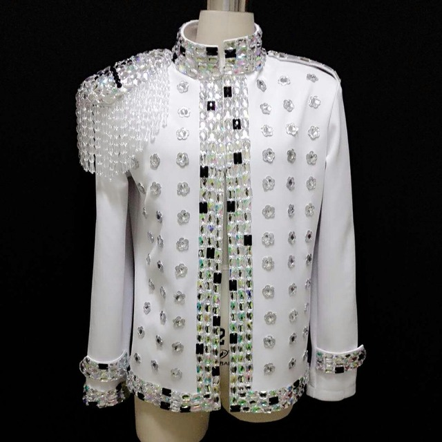 2016 Fashion Men s Crystal Epaulets Rhinestone Jacket Plus Size Nightclub  Dress Performance Blazer Dj Ds Male f2f508e55145