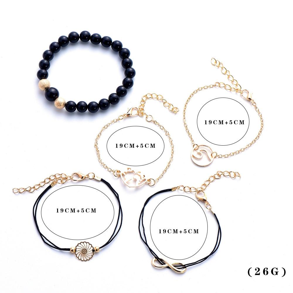 5 PCS Set Boho Hollowed out FLOWER Map black Bead Bracelets Set For Women Bohemia Chain Bracelet Jewelry DropShipping in Charm Bracelets from Jewelry Accessories