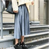 2017 New Autumn And Winter High Waisted Skinny Female Velvet Skirt Pleated Skirts Pleated Skirt Free