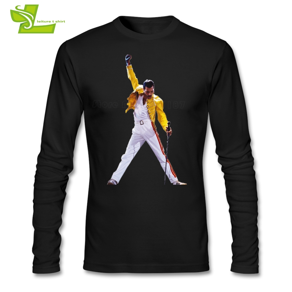 Freddie Mercury Queen Band T Shirt Men s Long Sleeve O Neck Cool Tees Adult  Newest Top 2dd6803a11ca
