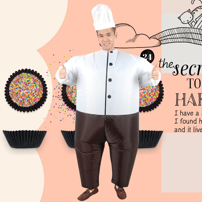 Inflatable Monster Costumes Funny fat chef Mascot Cosplay for Adult Cook dolls mounts Halloween Purim Party Funny Costumes