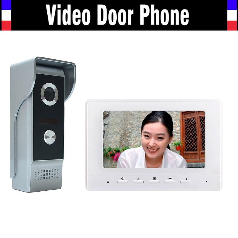 7 Inch Color Lcd Screen Video Door Phone Intercom Doorbell System Video Doorphone Interphone Kit 1-monitor 1-Door Camera