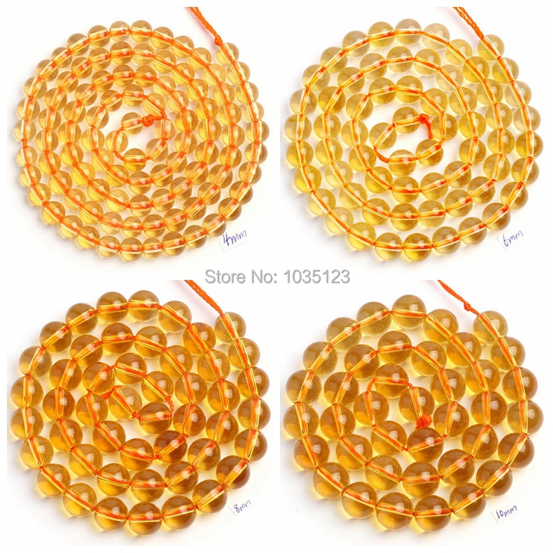 High Quality Natural yellow Crystal Stone Smooth Round - Fashion Jewelry - Photo 1