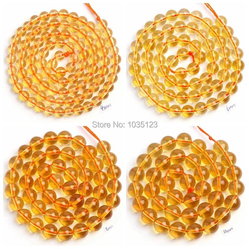 Piedra de cristal amarilla natural de alta calidad lisa redonda 4/6/8/10/12/14 mm gemas cuentas sueltas 15 pulgadas collar pulsera joyería wj109