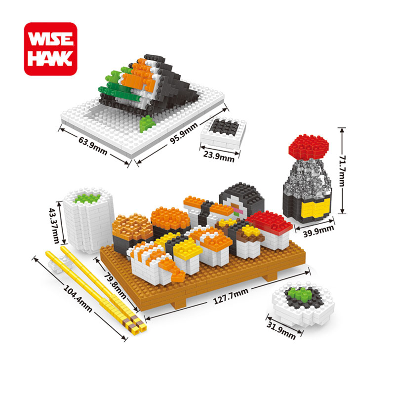 Wisehawk nano blocks delicious sushi food action figures plastic Building Bricks ABS mini hot model educational toys for kid. wisehawk hot plastic nano blocks kawaii anime cartoon one piece luffy action figures building bricks diy models educational toys