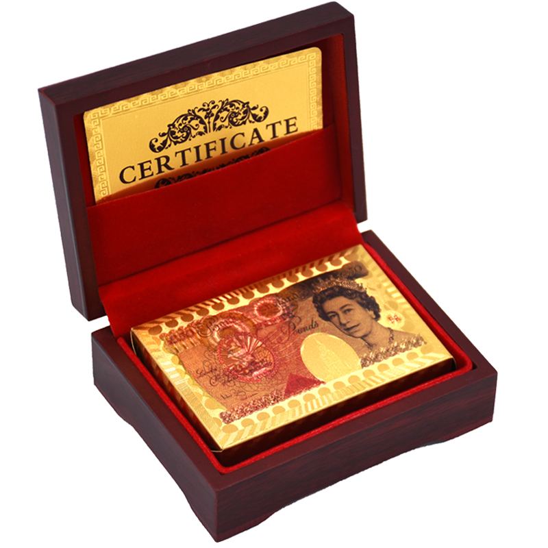 Nouvelles Cartes de Jeu Feuille D'or Plaqué Poker Carte Texas Hold'em Poker Drôle de Haute qualité Sport Jeu Pokerstars Avec Bois boîte
