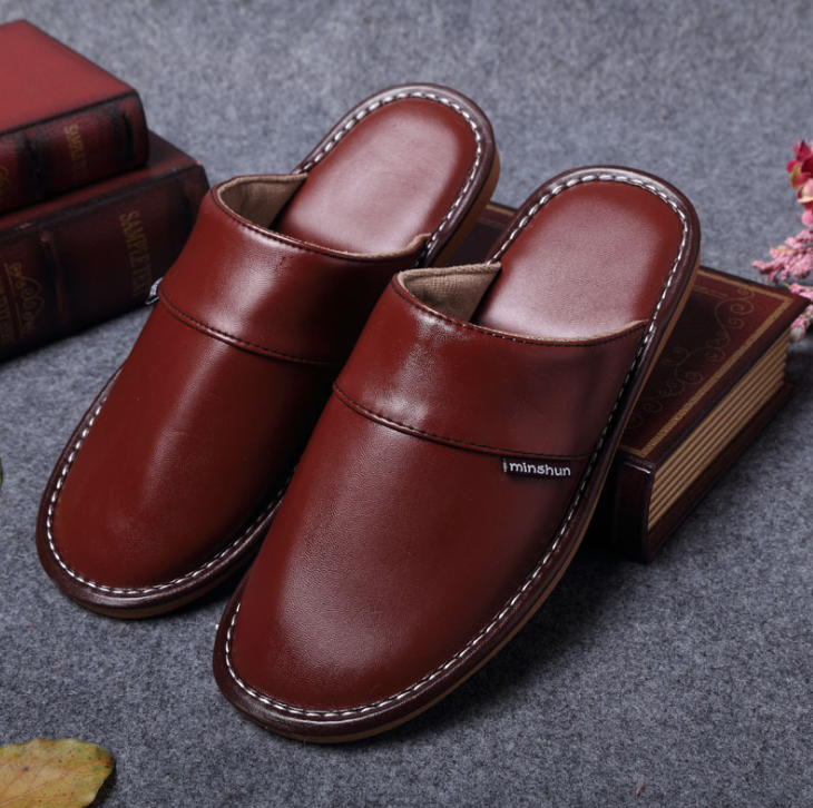 Plus Size 35 44 Genuine Leather Women Men Slippers Summer Home Slippers High Quality Women Men