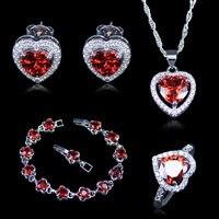 Nueva Llegada Corazón Rojo Creado Garnet Zircon 925 Sello de Plata Sistemas de la Joyería de Color Blanco Para Las Mujeres Pulseras Colgante Pendientes Anillos