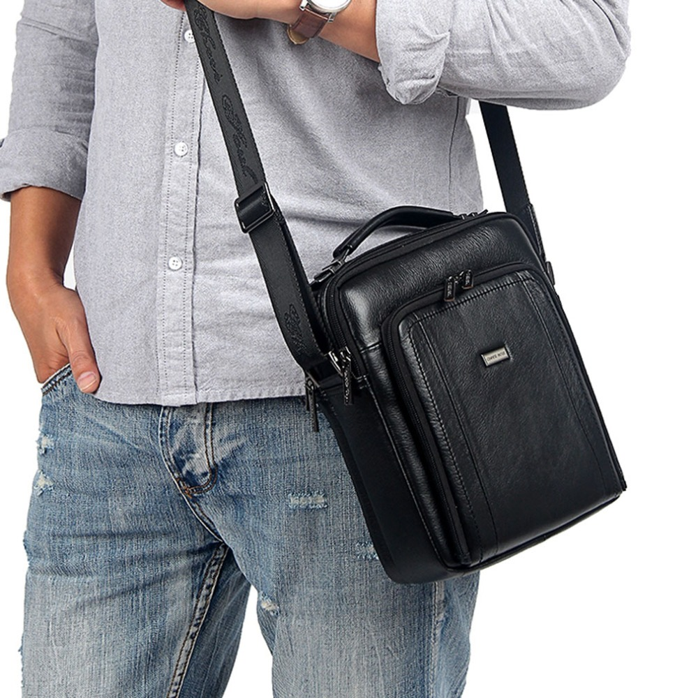 Men's Handbags Genuine Leather First layer Cowhide fashion Handbag Vintage Shoulder Messenger Bags Business Bag new women vintage embossed handbag genuine leather first layer cowhide famous brand casual messenger shoulder bags handbags