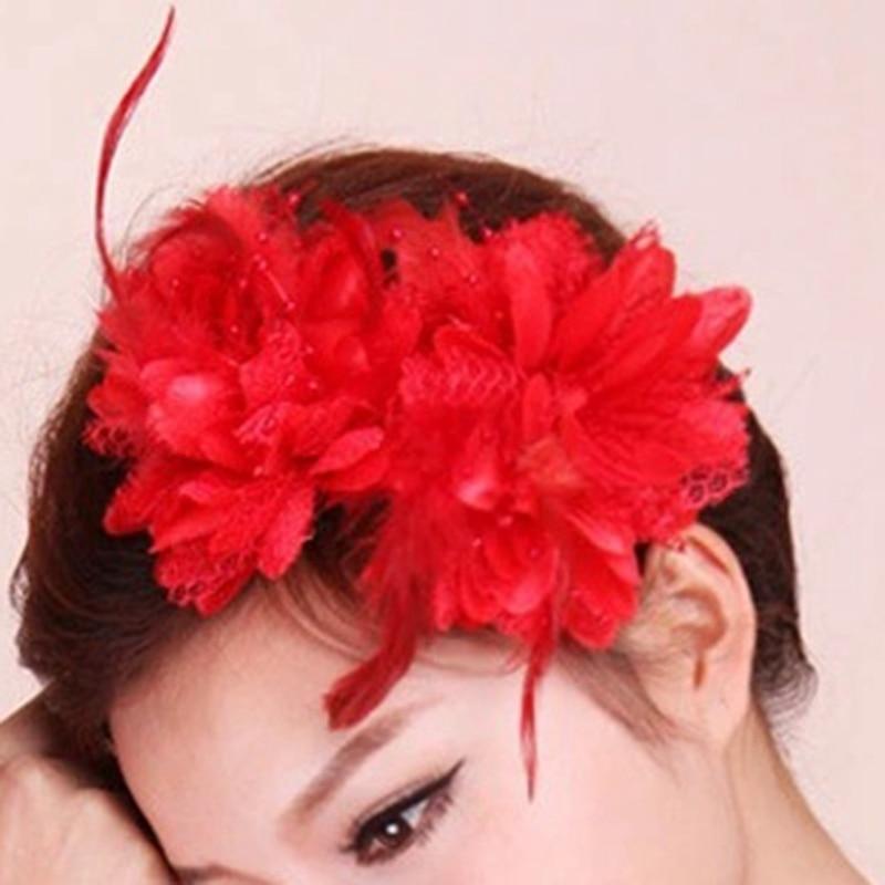 2019 Fashion Women wrist flower headdress Flower Feather Beads Mesh Corsage Hair Clips Girls Ladies Bridal Hairband High Quality