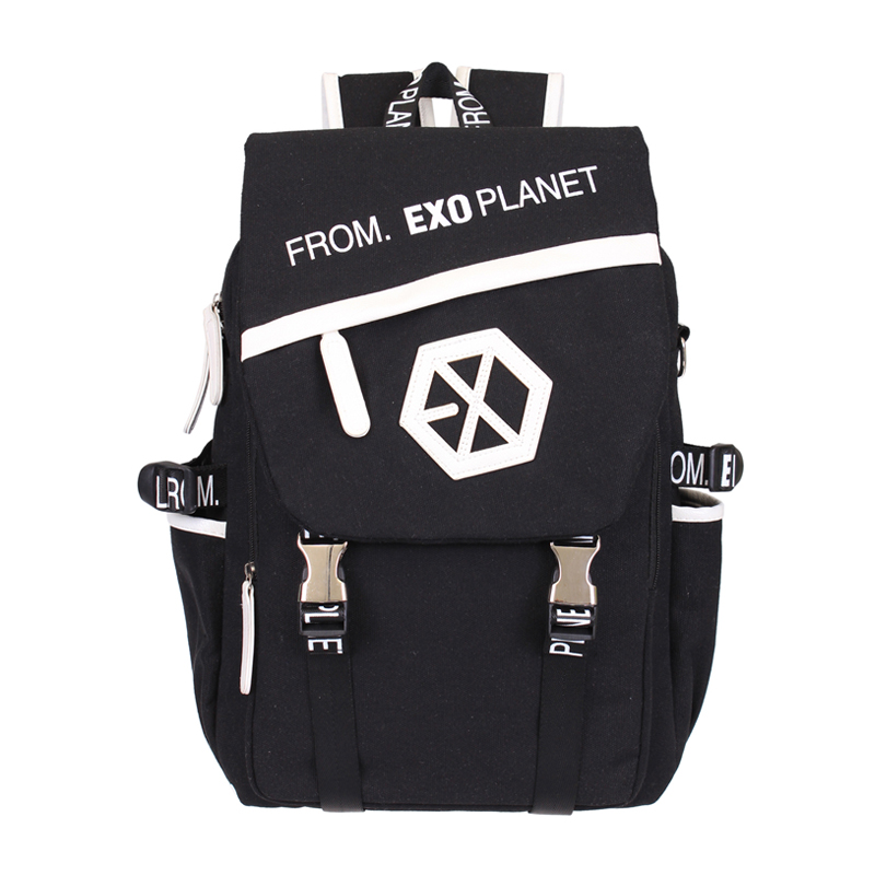 Kpop EXO Canvas Backpack Sacks Women/Men Student School Bags For Girl boy Casual Travel EXO bags msmo 2017 new kpop exo canvas backpack sacks women men student school bags for girl boy casual travel exo bags