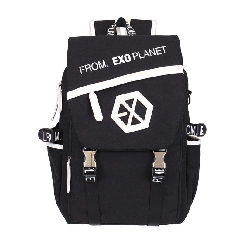 Kpop EXO Canvas font b Backpack b font Sacks font b Women b font Men Student