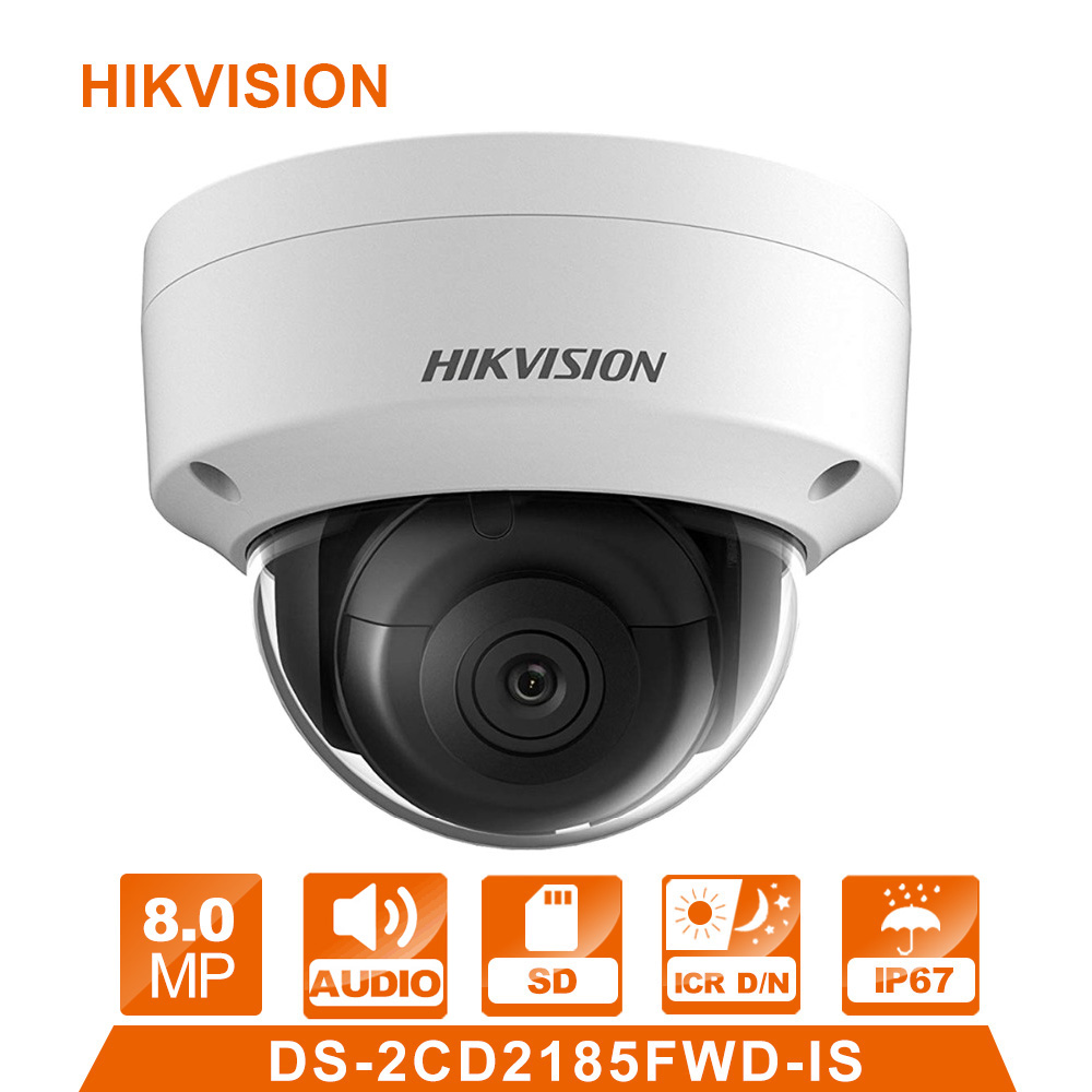 Hik DS-2CD2185FWD-IS IP Cámara 8 MPNetwork cámara domo H 265 CCTV cámara domo IP67 con Audio