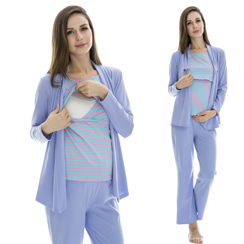 Wholesale 100% cotton nursing long-sleeve sleepwear breast feeding clothes maternity Lounge spring and autumn three pieces suit maternity pregnant women suit for breast feeding clothes pregnancy womens pajamas sets long sleeve pants 3 pieces striped style