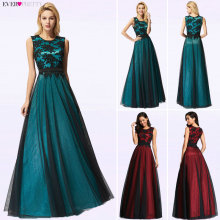 Evening-Dresses Longue Robe-De-Soiree Lace Appliques Real-Photo Cheap Vestido-De-Festa