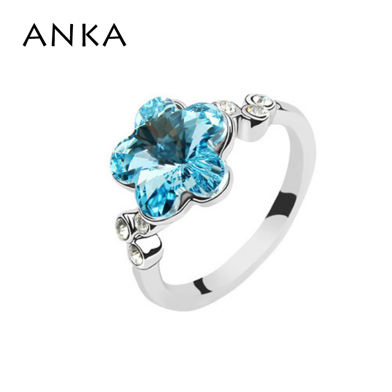 ANKA Crystals from Austria Crystal Flower Ring Trendy Women Tension Setting Anelli da donna in lega di zinco Regalo di Halloween # 75773