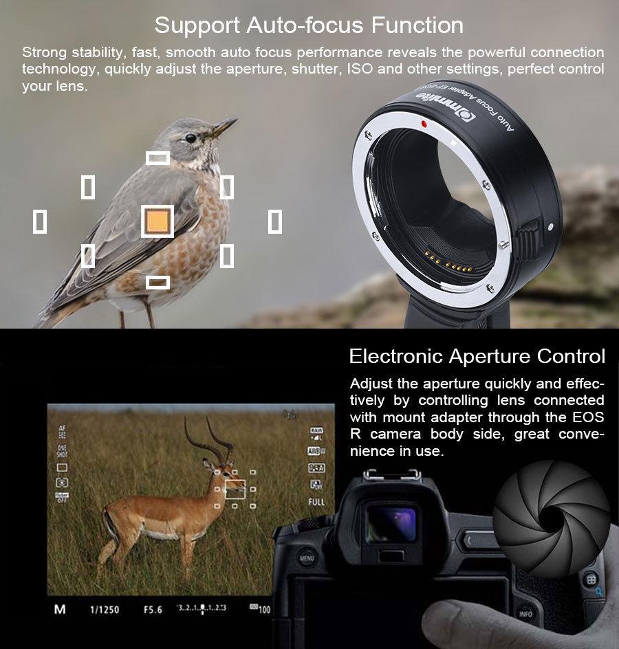 Adaptateur de monture d'objectif Commlite CM-EF-EOSR de l'objectif Canon EF/EF-S au support RF EF R Canon