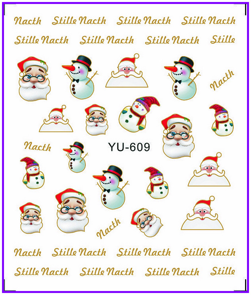 Xmas Nail Transfers: 1X Nail Sticker Cute Xmas Santa Clause Water Transfers