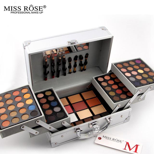 Miss rose sombra de ojos placa de moda las mujeres bolsa de cosméticos de maquillaje paleta de colorete corrector de maquillaje caja de maquillaje artista dedicado