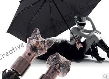 сова черной ручкой - fox handle,owl handle umbrella,2 times black coating,100%sunscreen,UPF>50+,parasol,three fold auto open&auto close ,windproof,