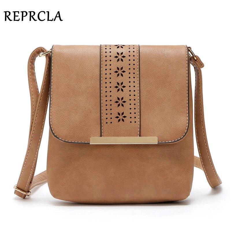 REPRCLA Hollow Vintage Women Bag Flap PU Leather Shoulder Bags High Quality Women Messenger Bags Crossbody Bolsas Feminina