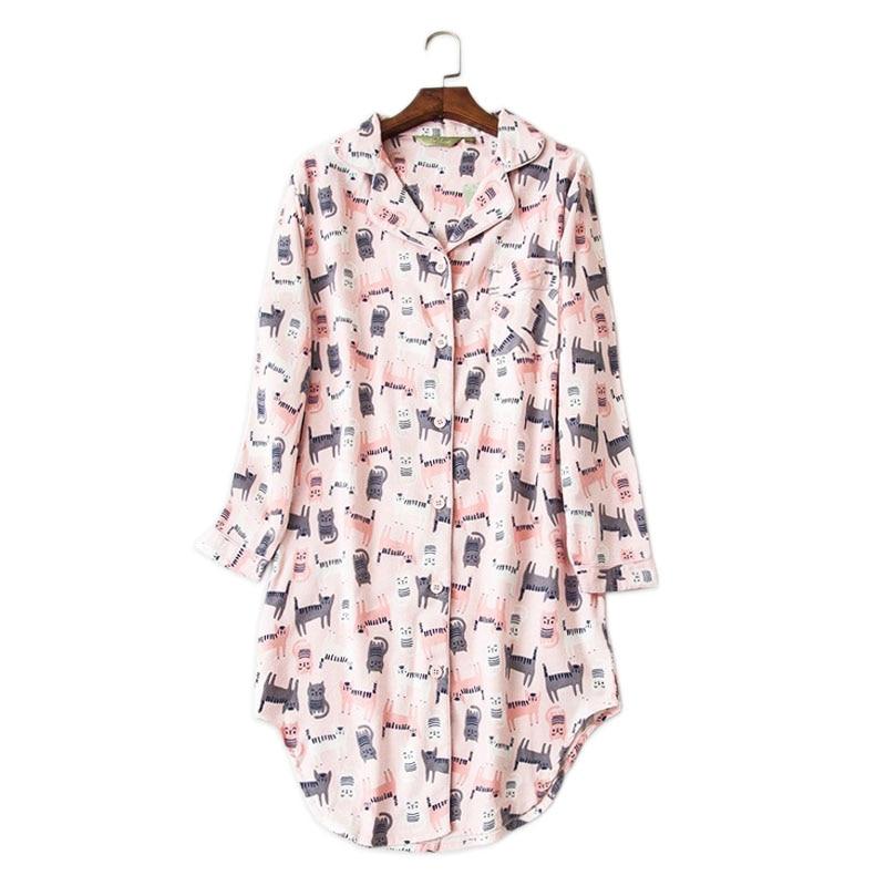 Cute pink cats 100% cotton nightdress women kawaii long sleeves women sleepwear casual nightwear Autumn chemise sexy   sleepshirts