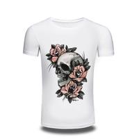 Supreme New Men's Tops Tees 2016 Summer Cotton O Neck Short Sleeve T Shirt Men Fashion Printed Skulls Flowers Slim T Shirts Mens