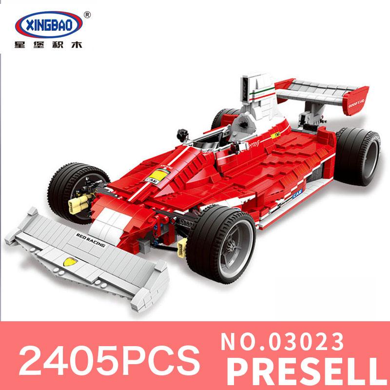 XINGBAO 03023 2405PCS Genuine Classic The Red Racing Car Set Building Blocks Bricks DIY Educational Toys Gifts for Children