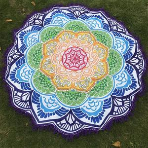 Image 2 - Women Chic Tassel Indian Mandala Tapestry Lotus Printed Bohemian Beach Mat Yoga Mat Sunblock Round Bikini Cover Up Blanket
