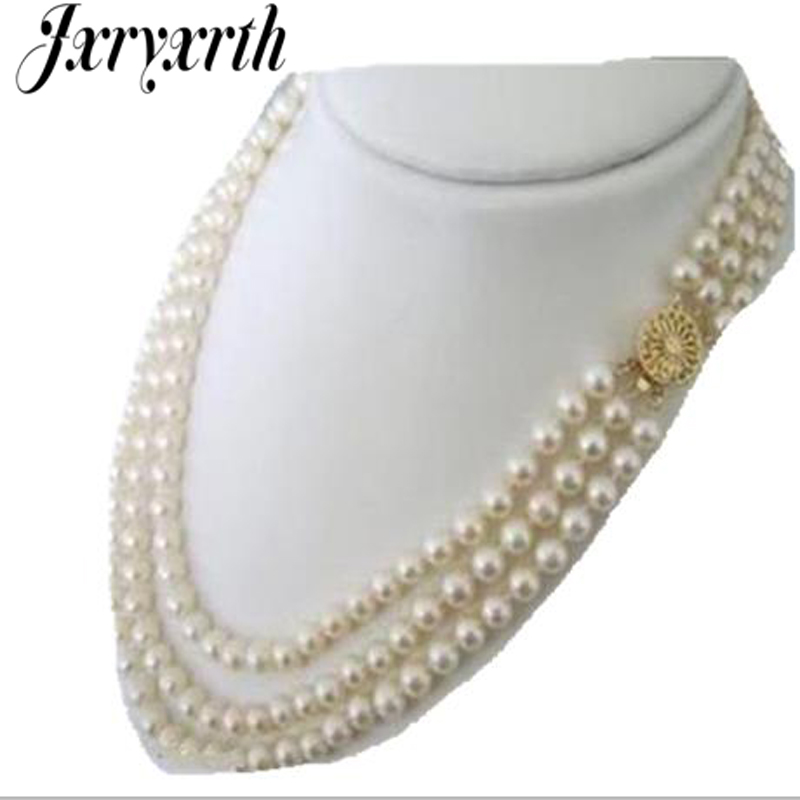 Jxryxrth2018 nouvelle mode femme 3 rangées 7-8mm blanc Akoya mode shopping fille perles de culture collier perles bijoux AJ050