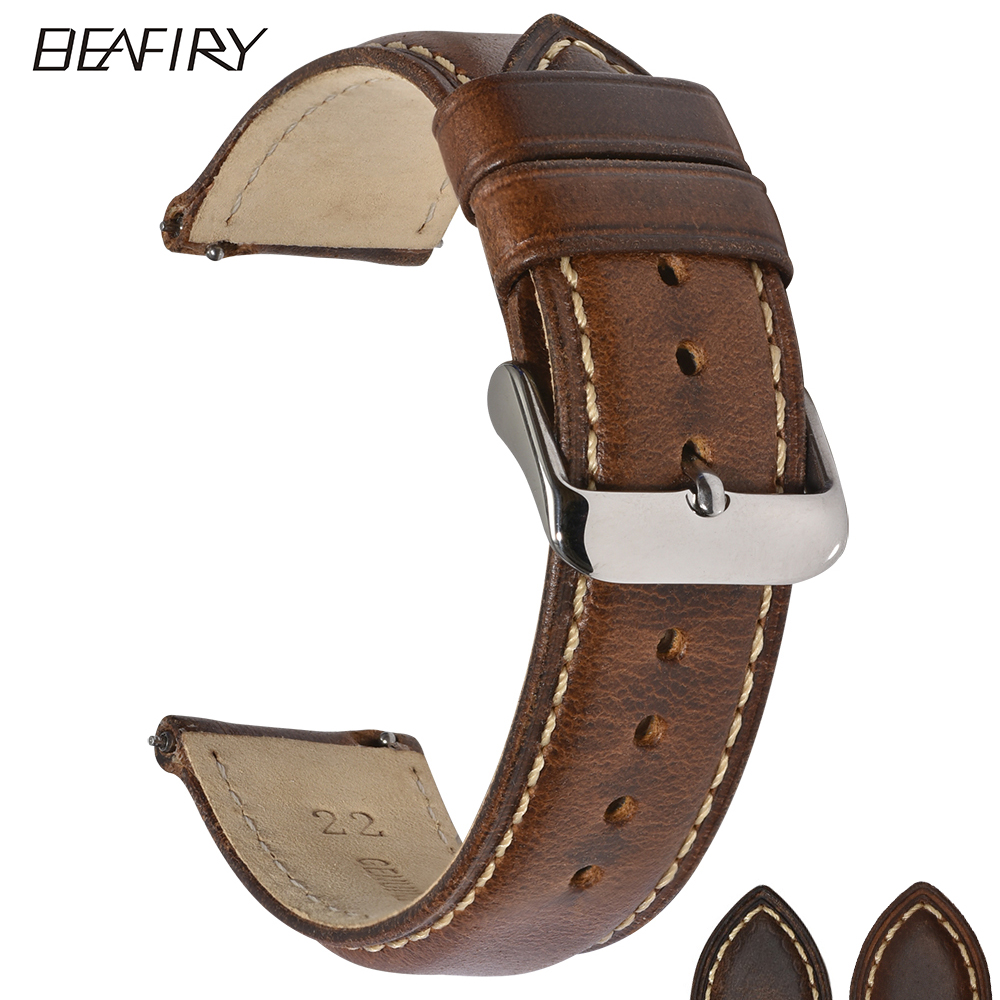 BEAFIRY Oil Tanned Leather 22mm 20mm 18mm Watchband Quick Release Watch Band Strap Brown for Men Women compatible with Fossil-in Watchbands from Watches