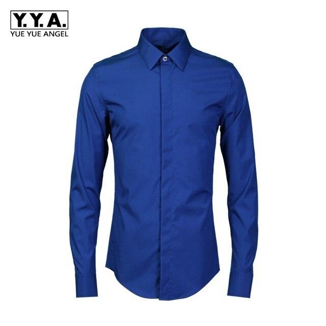 Aliexpress.com : Buy Italian Business Men Formal Shirts Navy Blue ...