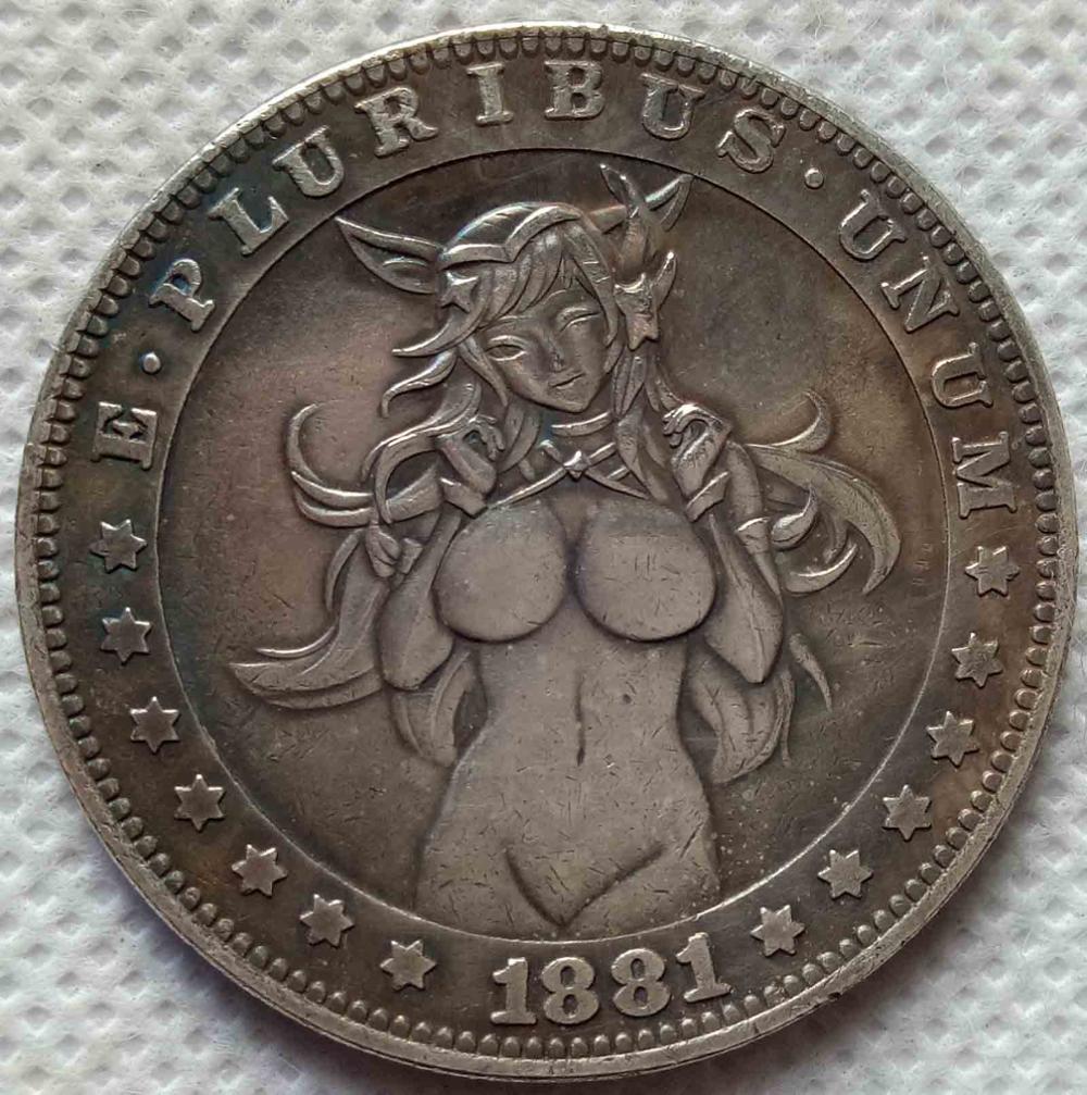 HOBO Nickel 1881-CC USA Morgan Dollar Beach Girl COIN Best Gift