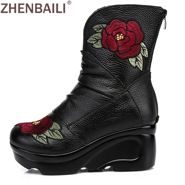 adcc681e0a9 ZHENBAILI Genuine Leather Boots 2017 Fashion Embroider High Heel Women Ankle  Boots Zipper Platform Wedges Short Boots Winter