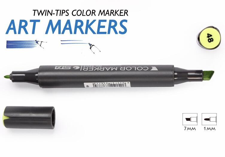 STA Dual Headed Art Marker Set 12 Colors Oily Alcoholic  Artist Sketch Markers Pen For Professional Manga Design Drawing sta 80colors double head artist soluble colored sketch marker brush pen set for drawing design paints art marker supplies